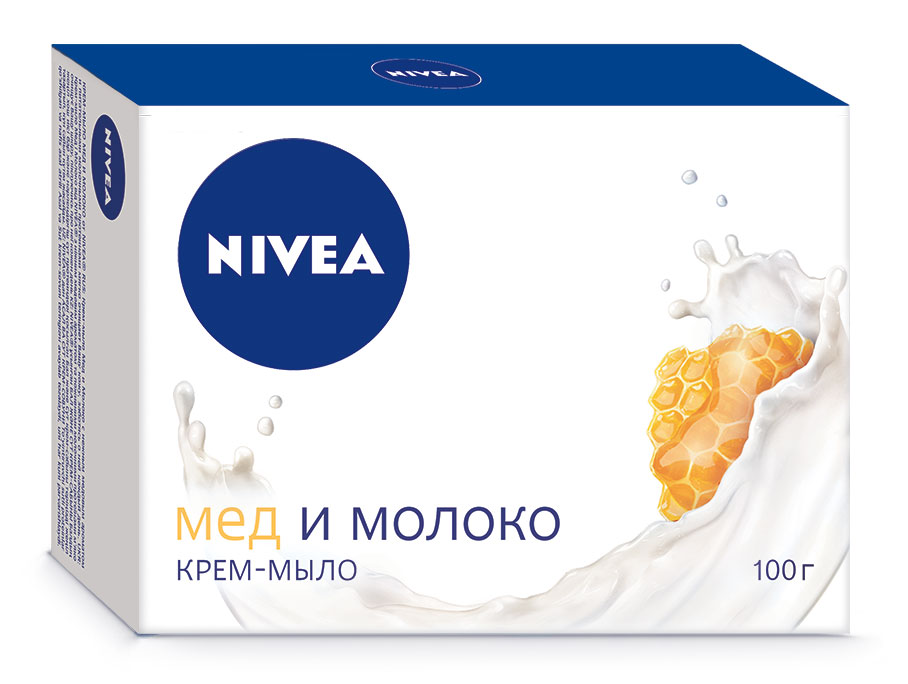 Nivea Крем-мыло Мед и молоко, 100 г67025730Увлажняющее мыло с экстрактом из меда и молока