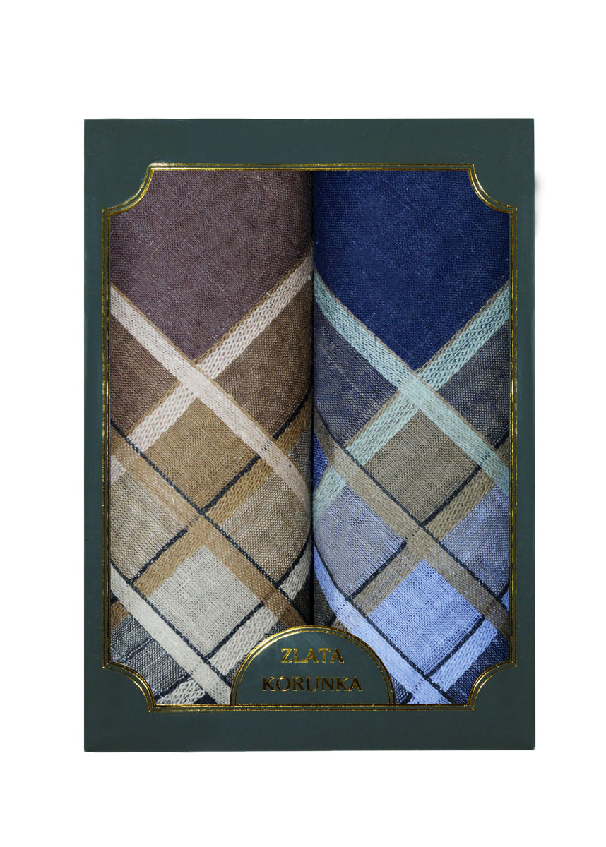 Платок носовой мужской Zlata Korunka, цвет: синий, коричневый. 40214-1. Размер 38 х 38 см, 2 штСерьги с подвескамиНосовой платок Zlata Korunka изготовлен из высококачественного натурального хлопка, благодаря чему приятен в использовании, хорошо стирается, не садится и отлично впитывает влагу. Практичный носовой платок будет незаменим в повседневной жизни любого современного человека. Такой платок послужит стильным аксессуаром и подчеркнет ваше превосходное чувство вкуса. В комплекте 2 платка.