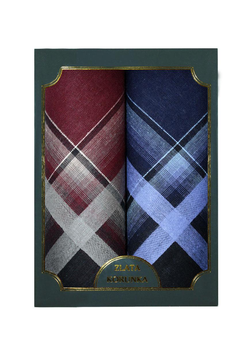 Платок носовой мужской Zlata Korunka, цвет: бордовый, темно-синий, 2 шт. 40214-2. Размер 38 см х 38 смАжурная брошьОригинальный мужской носовой платок Zlata Korunka изготовлен из высококачественного натурального хлопка, благодаря чему приятен в использовании, хорошо стирается, не садится и отлично впитывает влагу. Практичный и изящный носовой платок будет незаменим в повседневной жизни любого современного человека. Такой платок послужит стильным аксессуаром и подчеркнет ваше превосходное чувство вкуса.В комплекте 2 платка.