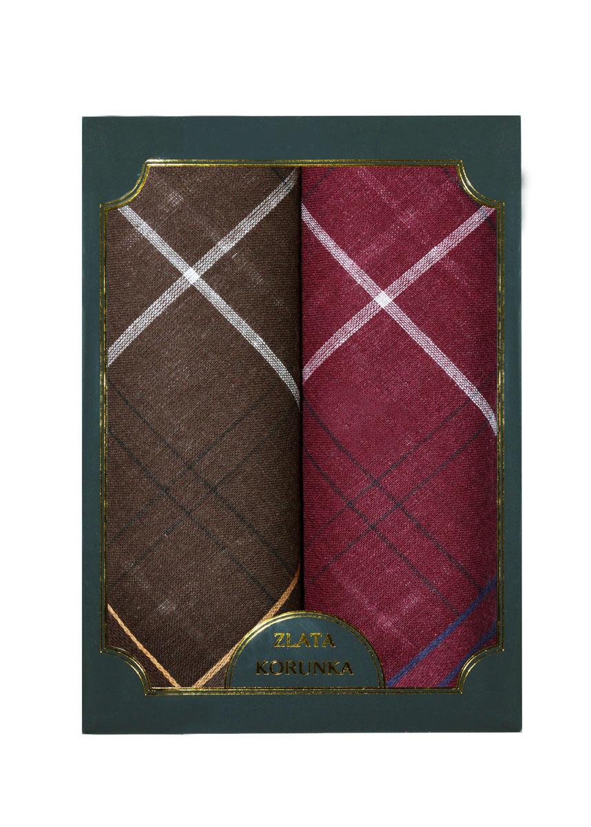 Платок носовой мужской Zlata Korunka, цвет: темно-коричневый, бордовый, 2 шт. 40214-4. Размер 38 см х 38 см39890 Колье (короткие одноярусные бусы)Оригинальный мужской носовой платок Zlata Korunka изготовлен из высококачественного натурального хлопка, благодаря чему приятен в использовании, хорошо стирается, не садится и отлично впитывает влагу. Практичный и изящный носовой платок будет незаменим в повседневной жизни любого современного человека. Такой платок послужит стильным аксессуаром и подчеркнет ваше превосходное чувство вкуса.В комплекте 2 платка.