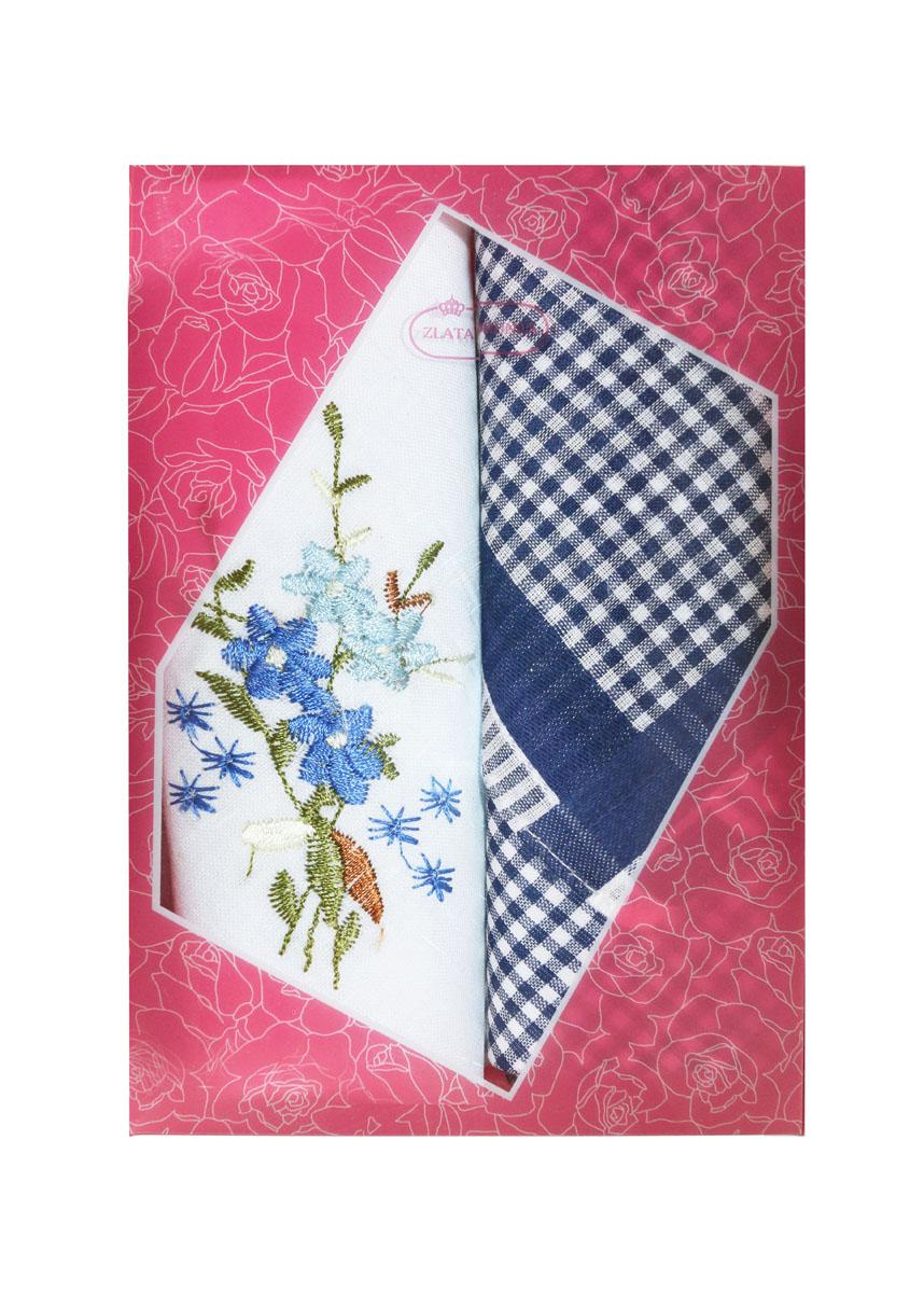 Платок носовой женский Zlata Korunka, цвет: белый, темно-синий, 2 шт. 40222-19. Размер 29 см х 29 смБрошь-кулонНебольшой женский носовой платок Zlata Korunka изготовлен из высококачественного натурального хлопка, благодаря чему приятен в использовании, хорошо стирается, не садится и отлично впитывает влагу. Практичный и изящный носовой платок будет незаменим в повседневной жизни любого современного человека. Такой платок послужит стильным аксессуаром и подчеркнет ваше превосходное чувство вкуса.В комплекте 2 платка.