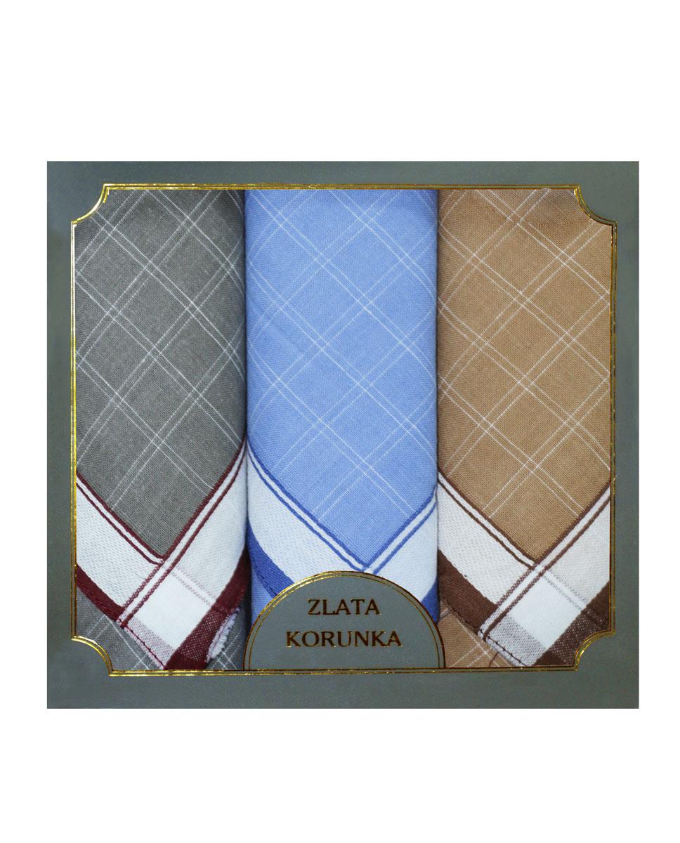 Платок носовой мужской Zlata Korunka, цвет: серый, голубой, бежевый. 40313-4. Размер 38 х 38 см, 3 штСерьги с подвескамиНосовой платок Zlata Korunka изготовлен из высококачественного натурального хлопка, благодаря чему приятен в использовании, хорошо стирается, не садится и отлично впитывает влагу. Практичный носовой платок будет незаменим в повседневной жизни любого современного человека. Такой платок послужит стильным аксессуаром и подчеркнет ваше превосходное чувство вкуса. В комплекте 3 платка.