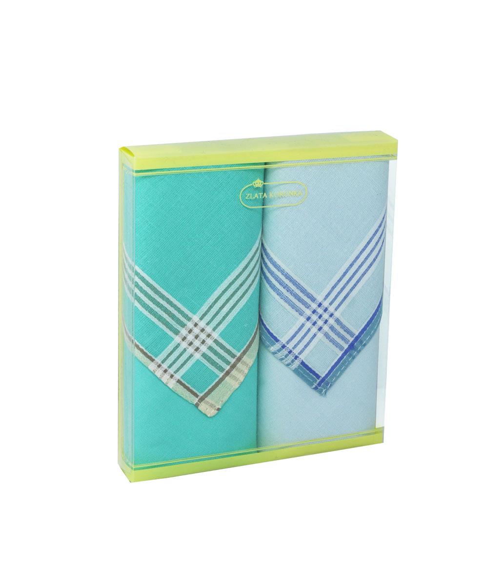 Платок носовой женский Zlata Korunka, цвет: зеленый, голубой. 71225-10. Размер 34 х 34 см, 2 шт39864|Серьги с подвескамиНосовой платок Zlata Korunka изготовлен из высококачественного натурального хлопка, благодаря чему приятен в использовании, хорошо стирается, не садится и отлично впитывает влагу. Практичный и изящный носовой платок будет незаменим в повседневной жизни любого современного человека. Такой платок послужит стильным аксессуаром и подчеркнет ваше превосходное чувство вкуса.В комплекте 2 платка.