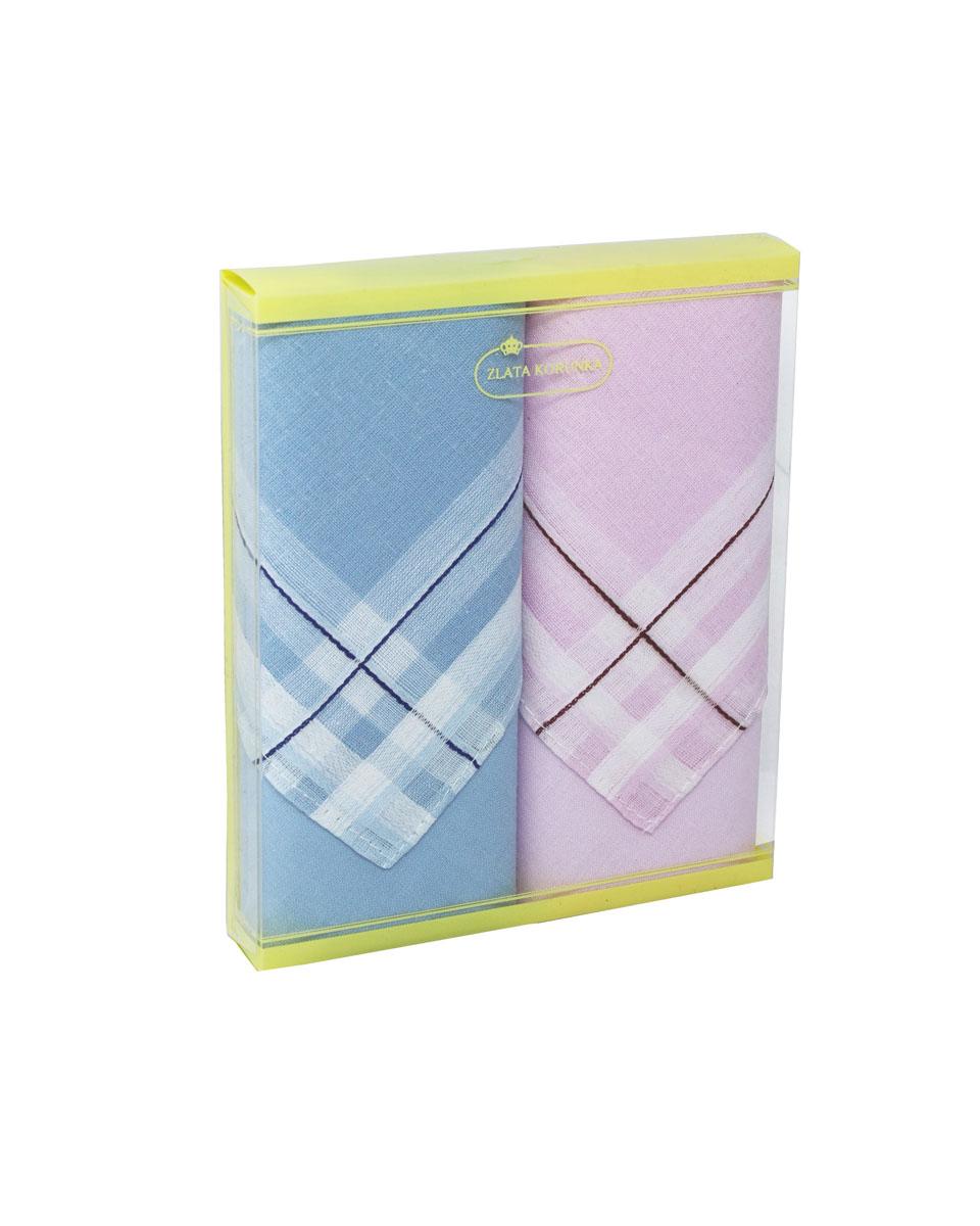 Платок носовой женский Zlata Korunka, цвет: голубой, розовый, 2 шт. 71225-5. Размер 34 см х 34 смБрошь-булавкаНебольшой женский носовой платок Zlata Korunka изготовлен из высококачественного натурального хлопка, благодаря чему приятен в использовании, хорошо стирается, не садится и отлично впитывает влагу. Практичный и изящный носовой платок будет незаменим в повседневной жизни любого современного человека. Такой платок послужит стильным аксессуаром и подчеркнет ваше превосходное чувство вкуса.В комплекте 2 платка.