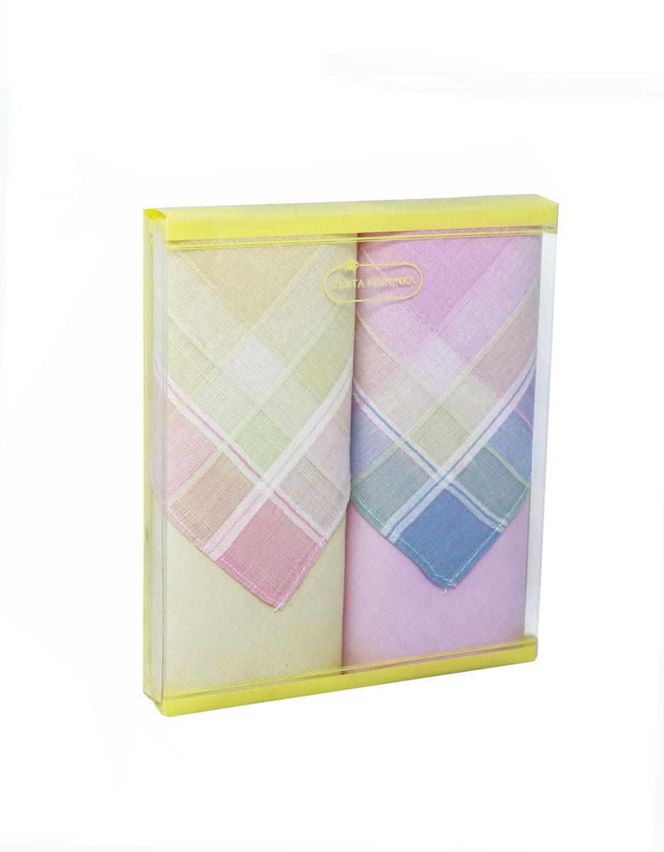 Платок носовой женский Zlata Korunka, цвет: желтый, розовый. 71225-9. Размер 34 х 34 см, 2 шт39864|Серьги с подвескамиНосовой платок Zlata Korunka изготовлен из высококачественного натурального хлопка, благодаря чему приятен в использовании, хорошо стирается, не садится и отлично впитывает влагу. Практичный и изящный носовой платок будет незаменим в повседневной жизни любого современного человека. Такой платок послужит стильным аксессуаром и подчеркнет ваше превосходное чувство вкуса.В комплекте 2 платка.