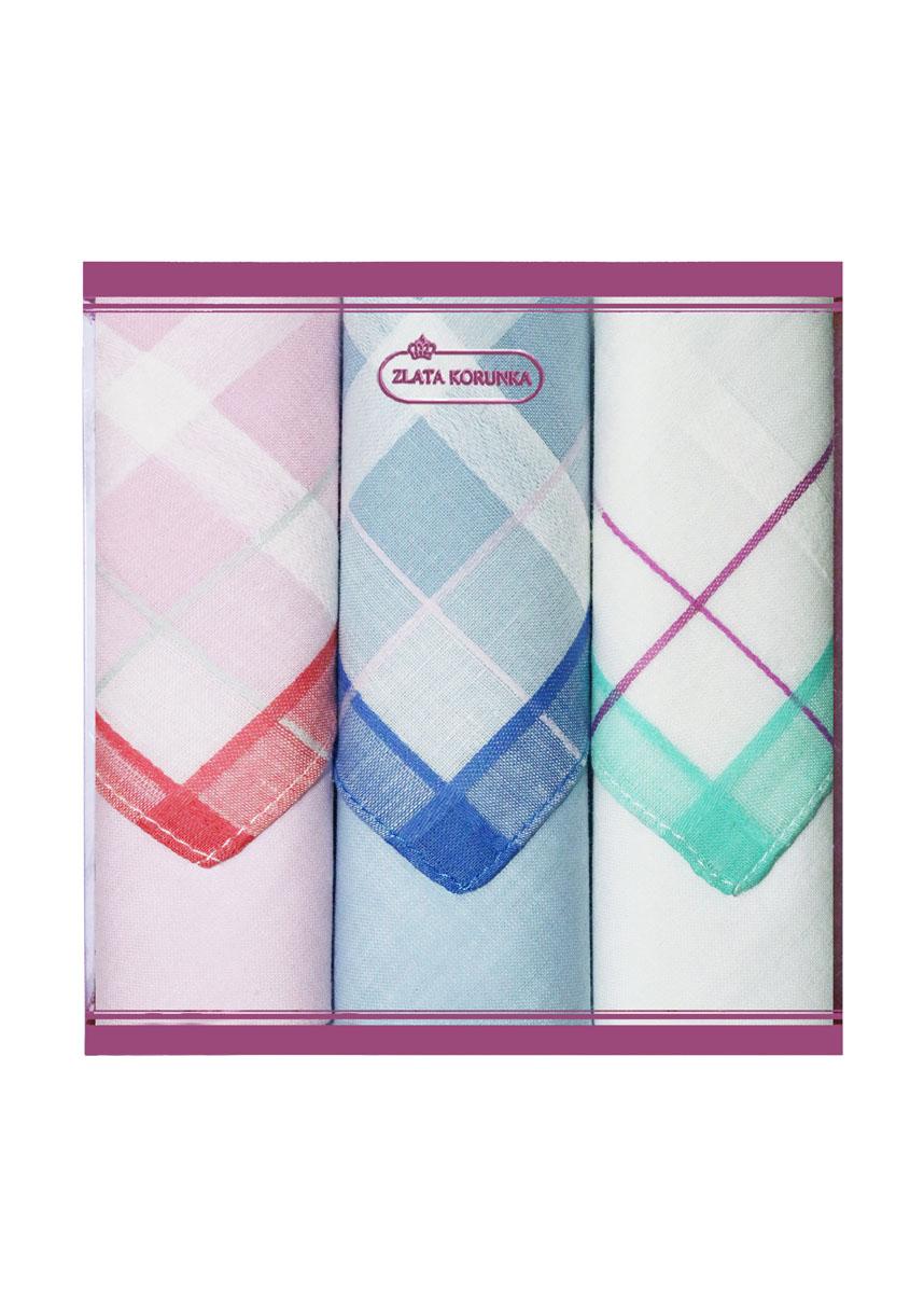 Платок носовой женский Zlata Korunka, цвет: розовый, синий, белый, 3 шт. 71321-3. Размер 34 см х 34 см39890|Колье (короткие одноярусные бусы)Небольшой женский носовой платок Zlata Korunka изготовлен из высококачественного натурального хлопка, благодаря чему приятен в использовании, хорошо стирается, не садится и отлично впитывает влагу. Практичный и изящный носовой платок будет незаменим в повседневной жизни любого современного человека. Такой платок послужит стильным аксессуаром и подчеркнет ваше превосходное чувство вкуса.В комплекте 3 платка.