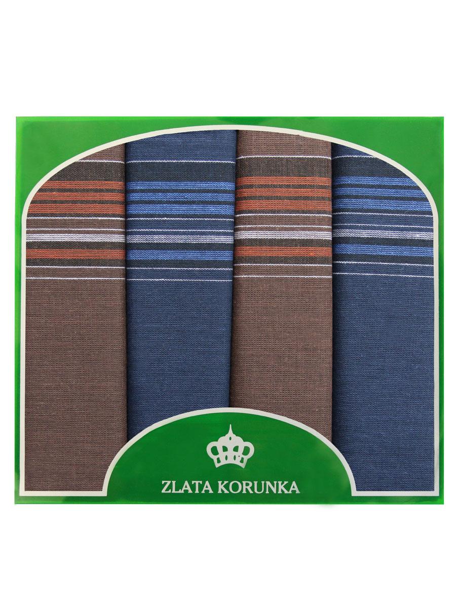 Платок носовой мужской Zlata Korunka, цвет: синий, коричневый. 71419-27. Размер 34 х 34 см, 4 шт39864 Серьги с подвескамиНосовой платок Zlata Korunka изготовлен из высококачественного натурального хлопка, благодаря чему приятен в использовании, хорошо стирается, не садится и отлично впитывает влагу. Практичный носовой платок будет незаменим в повседневной жизни любого современного человека. Такой платок послужит стильным аксессуаром и подчеркнет ваше превосходное чувство вкуса. В комплекте 4 платка.
