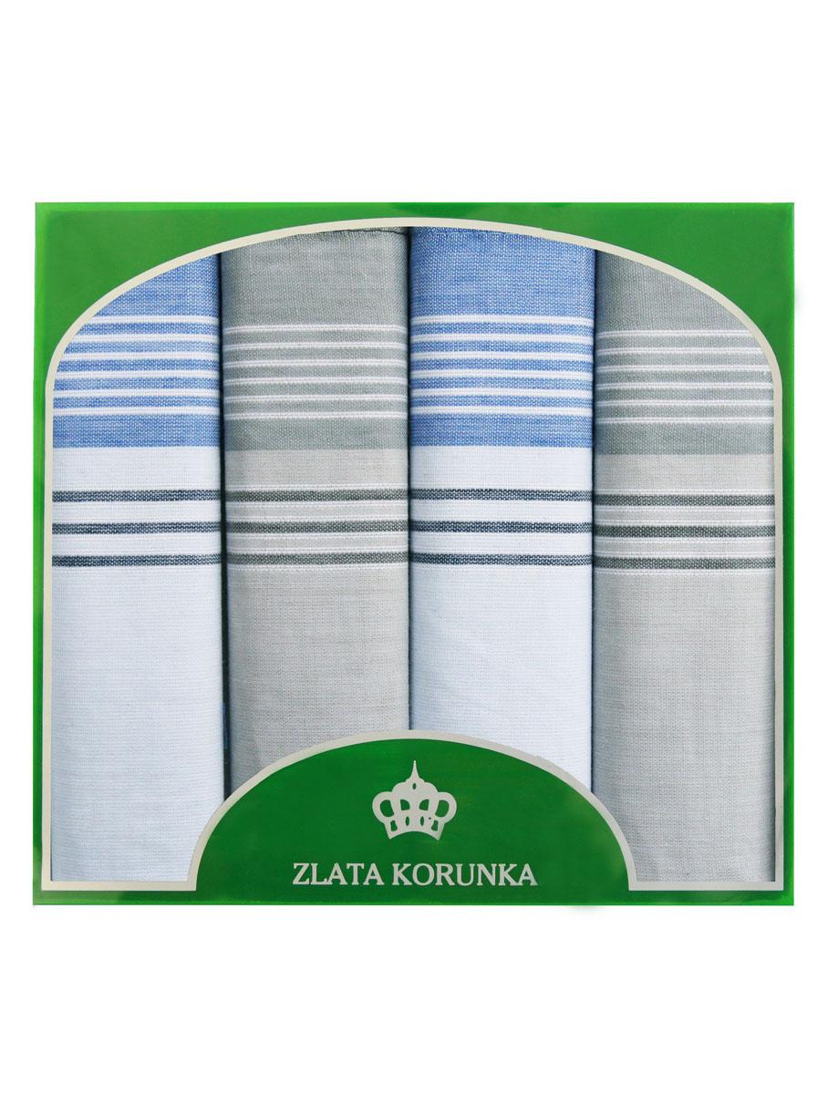 Платок носовой мужской Zlata Korunka, цвет: белый, голубой, светло-серый. 71419-4. Размер 34 х 34 см, 4 штСерьги с подвескамиНосовой платок Zlata Korunka изготовлен из высококачественного натурального хлопка, благодаря чему приятен в использовании, хорошо стирается, не садится и отлично впитывает влагу. Практичный носовой платок будет незаменим в повседневной жизни любого современного человека. Такой платок послужит стильным аксессуаром и подчеркнет ваше превосходное чувство вкуса. В комплекте 4 платка.