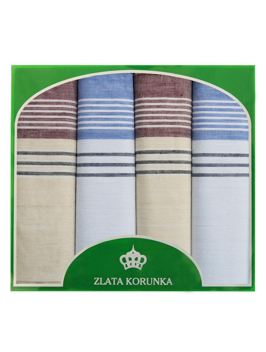 Платок носовой мужской Zlata Korunka, цвет: белый, голубой, бежевый. 71419-6. Размер 34 х 34 см, 4 шт39864|Серьги с подвескамиНосовой платок Zlata Korunka изготовлен из высококачественного натурального хлопка, благодаря чему приятен в использовании, хорошо стирается, не садится и отлично впитывает влагу. Практичный носовой платок будет незаменим в повседневной жизни любого современного человека. Такой платок послужит стильным аксессуаром и подчеркнет ваше превосходное чувство вкуса. В комплекте 4 платка.