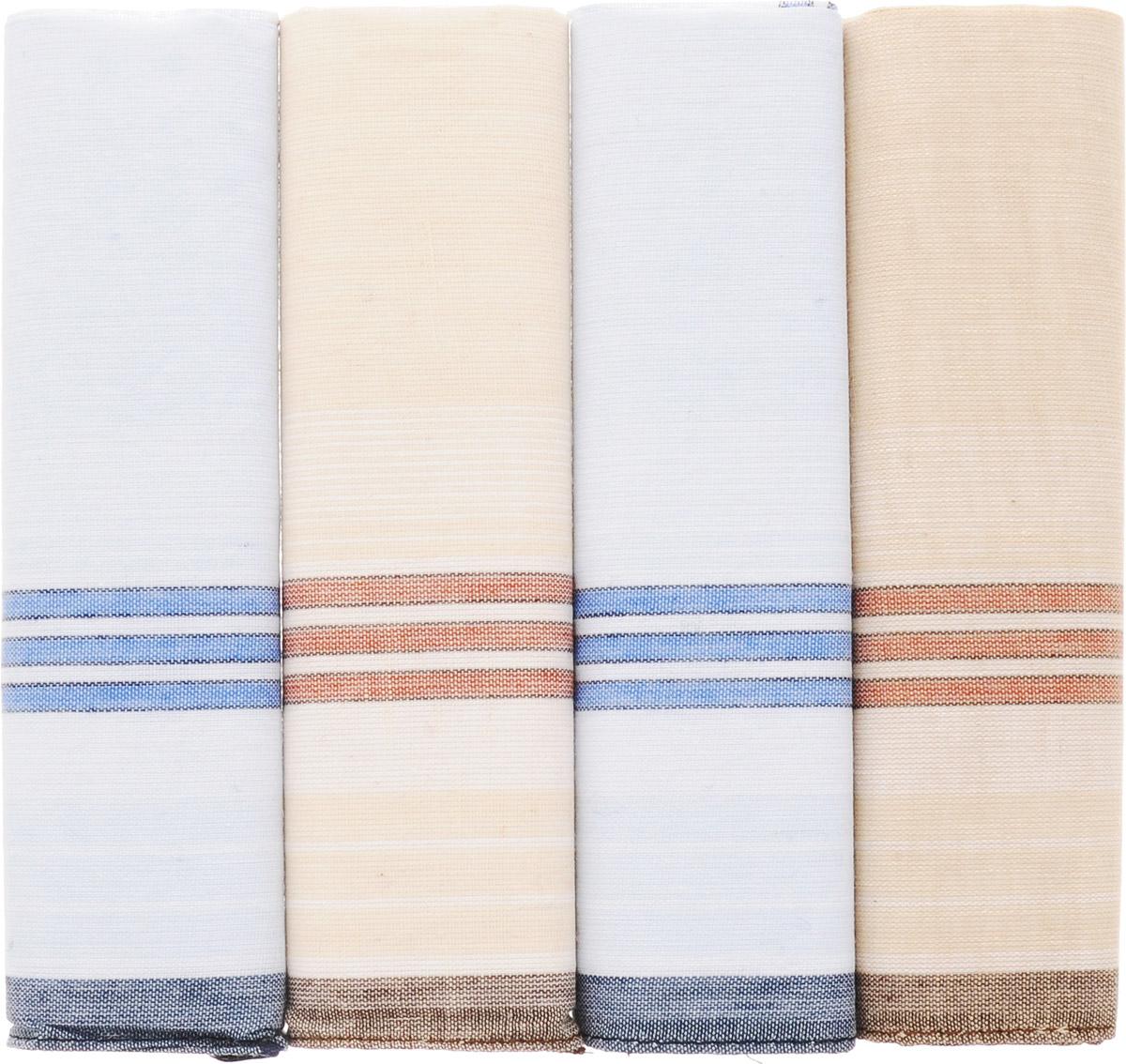 Платок носовой мужской Zlata Korunka, цвет: голубой, бежевый. 71419-7. Размер 34 х 34 см, 4 шт39864|Серьги с подвескамиНосовой платок Zlata Korunka изготовлен из высококачественного натурального хлопка, благодаря чему приятен в использовании, хорошо стирается, не садится и отлично впитывает влагу. Практичный носовой платок будет незаменим в повседневной жизни любого современного человека. Такой платок послужит стильным аксессуаром и подчеркнет ваше превосходное чувство вкуса. В комплекте 4 платка.