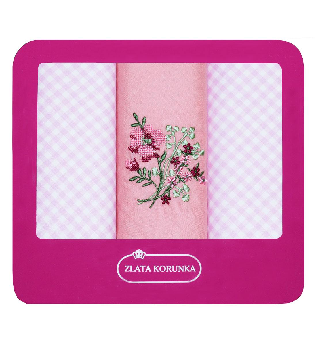 Платок носовой женский Zlata Korunka, цвет: розовый, 3 шт. 90330-13. Размер 29 см х 29 см39864|Серьги с подвескамиНебольшой женский носовой платок Zlata Korunka изготовлен из высококачественного натурального хлопка, благодаря чему приятен в использовании, хорошо стирается, не садится и отлично впитывает влагу. Практичный и изящный носовой платок будет незаменим в повседневной жизни любого современного человека. Такой платок послужит стильным аксессуаром и подчеркнет ваше превосходное чувство вкуса.В комплекте 3 платка.