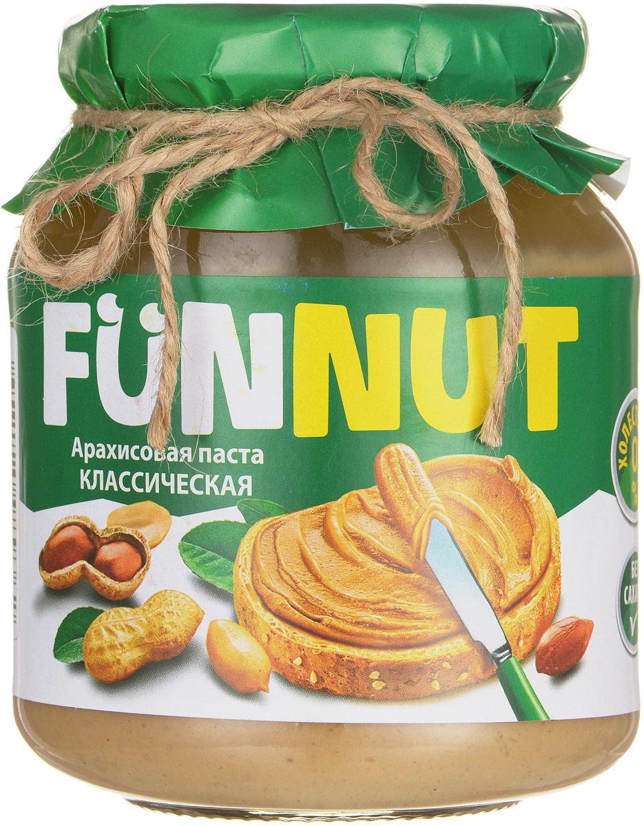 Funnut арахисовая паста классическая, 340 г0120710Арахисовая паста Funnut подходит тем, кто следит за своим здоровьем и не употребляет сахар. Паста производится по уникальной рецептуре. Секрет ее вкуса заключается в натуральности всех ингредиентов, отсутствием в составе холестерина, транс-жиров и вредных насыщенных жиров. Вся продукция прошла лабораторные и бактериологические исследования.