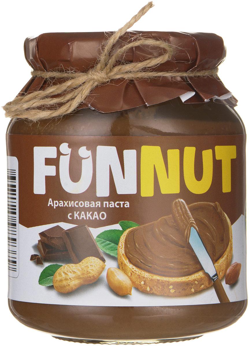 Funnut арахисовая паста с какао, 340 г4607125989379Арахисовая паста Funnut подходит тем, кто следит за своим здоровьем. Паста производится по уникальной рецептуре. Секрет ее вкуса заключается в натуральности всех ингредиентов, отсутствием в составе холестерина, транс-жиров и вредных насыщенных жиров. Вся продукция прошла лабораторные и бактериологические исследования.