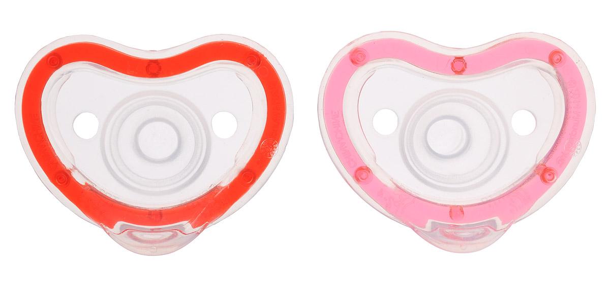 Munchkin Пустышка силиконовая Latch от 0 до 3 месяцев цвет розовый красный 2 шт