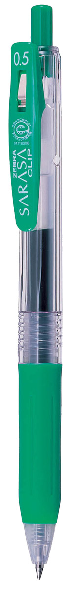 Zebra Ручка гелевая Sarasa Clip цвет зеленый305 404010Достоинство ручки Zebra Sarasa Clip - мягкость и плавность письма, аккуратные тонкие линии. Несомненный плюс этой модели - клип-прищепка, который позволяет прикреплять ручку к поверхностям практически любой толщины.Ручкой удобно писать: приталенный корпус с рифлением дает дополнительный контроль при письме. Каплевидная передняя часть с каучуковой подушечкой для пальцев предотвращает усталость руки.Диаметр шарика у этой модели всего 0,5 мм, что гарантирует очень тонкую линию письма.