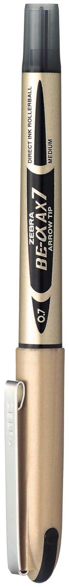 Zebra Ручка-роллер BE-& AX7 цвет чернил черный72523WDРучка-роллер Zebra AX7, как и другие роллеры серии Zeb-Roller, может писать вверх ногами. Снабжена наконечником иглообразного типа из нержавеющей стали и стальным зажимом.Серию ручек-роллеров Zeb-Roller отличает разработанная компанией Zebra система прямой подачи чернил (Direct Ink System), позволяющая писать очень быстро и практически без нажима. Идеальная линия письма до последней капли чернил, запас которых виден в полупрозрачном окошке пластикового корпуса. Необычайно большой запас чернил усовершенствованной формулы эквивалентен нескольким сменным стержням стандартной шариковой ручки.