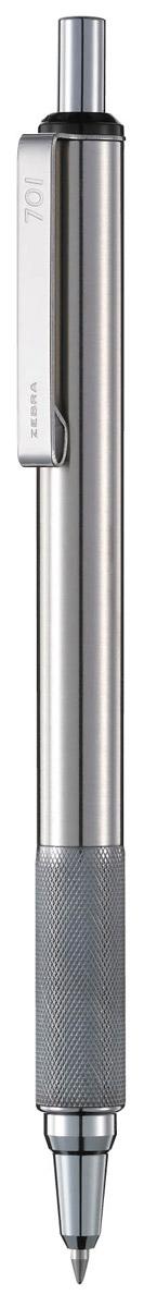 Zebra Ручка шариковая F-701 цвет корпуса серебристый305 078020Zebra F-701 - элегантная ручка нового поколения. В современных линиях корпуса виден точный расчет высококлассных инженеров и дизайнеров, а качество письма соответствует высочайшим требованиям японской компании Zebra. Ручка имеет оригинальное рифление в передней части корпуса, которое служит одновременно украшением ручки и предотвращает скольжение пальцев. Практически вечная автоматическая шариковая ручка: цельнометаллический корпус с металлическим клипом сломать очень сложно.