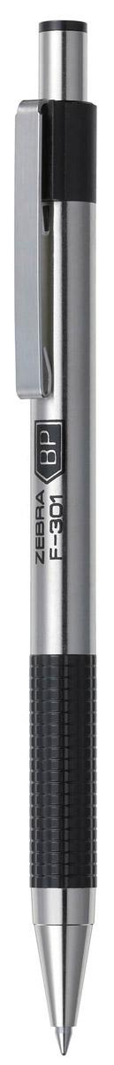 Zebra Ручка шариковая F-301 цвет корпуса серебристый черныйB888662Автоматическая шариковая ручка Zebra F-301 с корпусом из нержавеющей стали прослужит долго. Пластиковая подушка с фигурным рифлением обеспечивает комфорт при письме. Хромированный стальной зажим никогда не отломится. Сменный стержень имеет повышенный объем чернил.