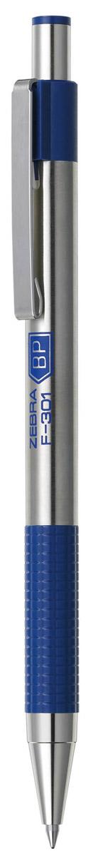 Zebra Ручка шариковая F-301 цвет корпуса серебристый синий544699Автоматическая шариковая ручка Zebra F-301 с корпусом из нержавеющей стали прослужит долго. Пластиковая подушка с фигурным рифлением обеспечивает комфорт при письме. Хромированный стальной зажим никогда не отломится. Сменный стержень имеет повышенный объем чернил.