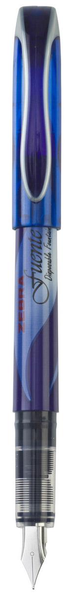 Zebra Ручка перьевая Fuente цвет корпуса синий72523WDZebra Fuente - одноразовая перьевая ручка. Плавные выверенные линии сигарообразного корпуса безупречно сочетаются с футуристическим дизайном колпачка ручки.Увеличенный диаметр корпуса создает дополнительный комфорт при письме (рука меньше устает). Перо F обеспечивает тонкую, ровную, мягкую линию письма. Увеличенный объем чернил!