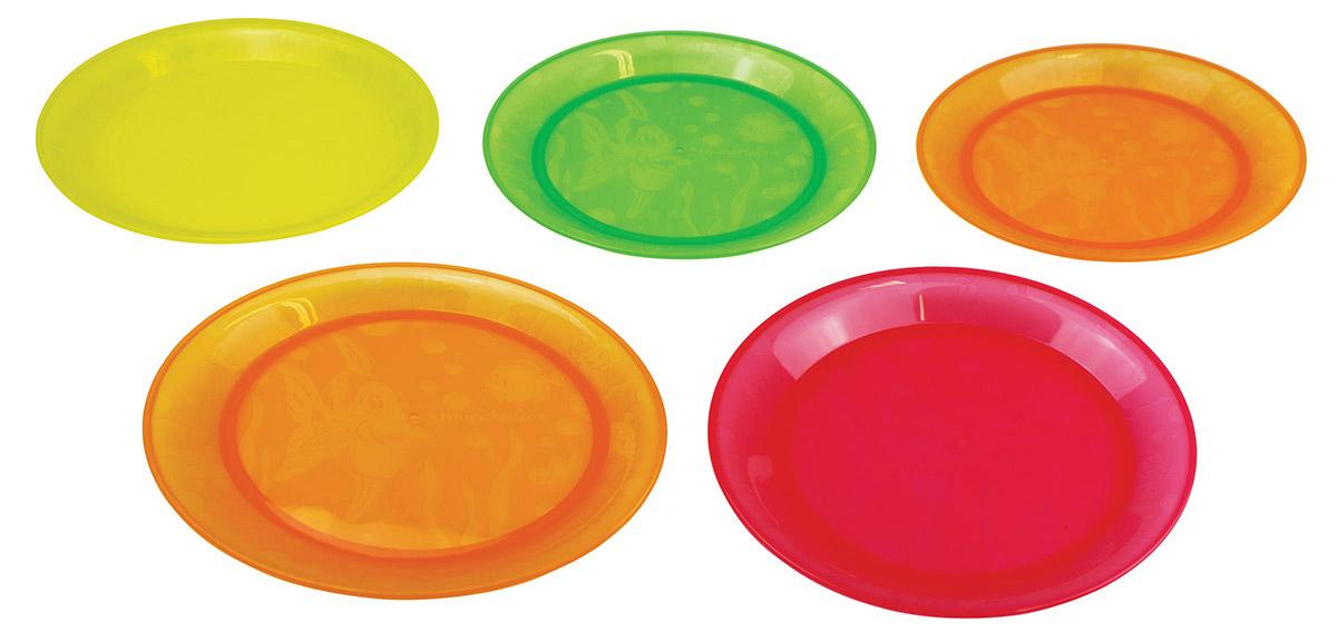 Munchkin Набор детских тарелок 5 штFS-91909Детские тарелки Munchkin, выполненные из безопасного пластика (не содержит бисфенол А), прекрасно подойдут для кормления малыша и самостоятельного приема им пищи.В набор входят пять плоских тарелочек разных цветов: 2 оранжевые, красная, зеленая, желтая. Ониукрашены дизайнерским рисунком в виде рыб, чтобы добавить удовольствия в любое блюдо, которые вы готовите. Также они прекрасно подходят для мытья на верхней подставке в посудомоечноймашине Кредо Munchkin, американской компании с 20-летней историей: избавить мир от надоевших и прозаических товаров, искать умные инновационные решения, которые превращает обыденные задачи в опыт, приносящий удовольствие. Понимая, что наибольшее значение в быту имеют именно мелочи, компания создает уникальные товары, которые помогают поддерживать порядок, организовывать пространство, облегчают уход за детьми - недаром компания имеет уже более 140 патентов и изобретений, используемых в создании ее неповторимой и оригинальной продукции. Munchkin делает жизнь родителей легче!