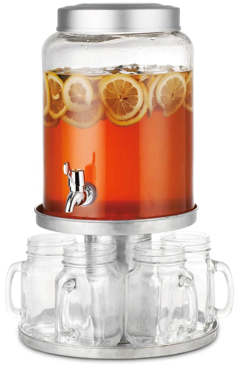 Диспенсер для напитков SinoGlass, с 6 стаканами98460000Диспенсер для напитков SinoGlass выполнен из высококачественного металла и стекла. Такой диспенсер предназначен для подачи холодных напитков. Он оснащен металлическим краником для более удобного разлива напитков. В комплект входят 6 стеклянных стаканов, которые оснащены удобной ручкой, а их горлышко оформлено в виде резьбы.Диспенсер и стаканы подаются вместе на металлической подставке. Оригинальный дизайн диспенсера позволит украсить любую кухню, внеся разнообразие, как в строгий классический стиль, так и в современный кухонный интерьер.Объем диспенсера: 7,9 л.Диаметр диспенсера (по верхнему краю): 15,5 см.Высота диспенсера: 29 см.Объем стакана: 550 мл.Диаметр стакана (по верхнему краю): 6 см. Высота стакана: 13,5 см.Размер подставки: 26 х 26 х 17,5 см.