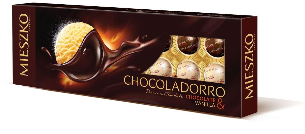 Mieszko Шоколадорро набор шоколадных конфет, 178 г4009900481076Mieszko Шоколадорро - сочетает в себе два аромата натуральных шоколадных конфет: глубокий шоколадный и аромат нежной ванили. Этот контраст исключительных конфет в форме шариков с красивой начинкой принесет радость многим гурманам и всем любителям шоколада. Chocoladorro является поистине уникальным подарком.