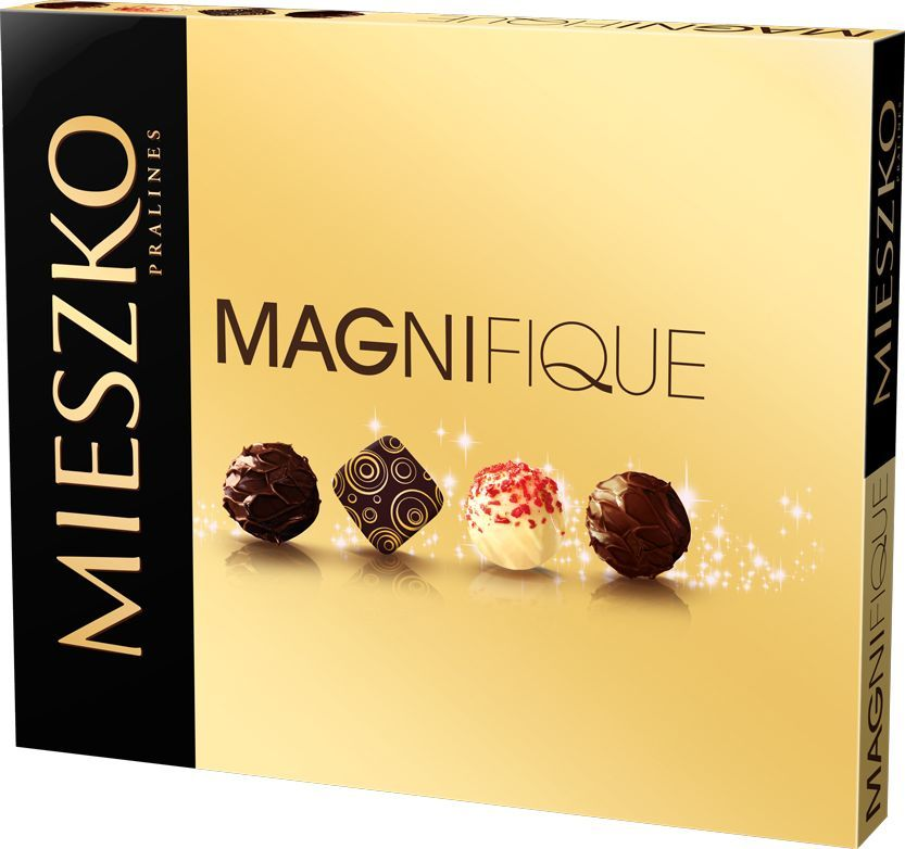 Mieszko Манифик набор шоколадных конфет, 188 г0120710Mieszko знает такие сочетания вкуса, которые создадут ощущение абсолютного восторга. Если вы среди тех, кто любит удовольствия, которыми вы можете поделиться с друзьями, отправьтесь в путешествие в мир Magnifique. В состав этого восхитительного набора входят конфеты с двойным шоколадом, кокосовым кремом, с тоффи и морской солью, со вкусом шампанского и нежной нугой.Уважаемые клиенты! Обращаем ваше внимание, что полный перечень состава продукта представлен на дополнительном изображении.