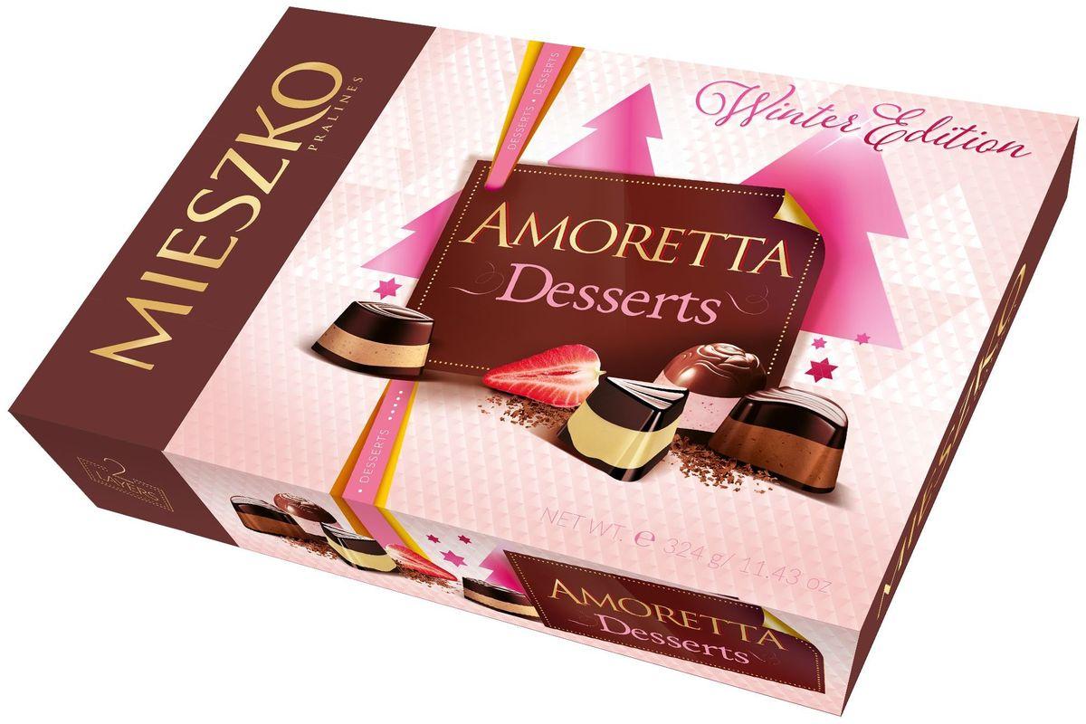 Mieszko Аморетта десерт набор шоколадных конфет, 325 г79004048Если бы было возможно влюбиться в подарок, то это должны быть конфеты Mieszko Amoretta Desserts. Внутри элегантной упаковки находится прекрасный выбор пралине, которые включают в себя настоящие шедевры кондитерских изделий. Шоколатье компании Mieszko были вдохновлены самыми захватывающими десертами мира, такими как крем-брюле с карамельной прослойкой, тирамису с натуральным ароматным кофе и Панна Котта с клубникой. И все эти шедевры они воплотили именно в этом наборе.