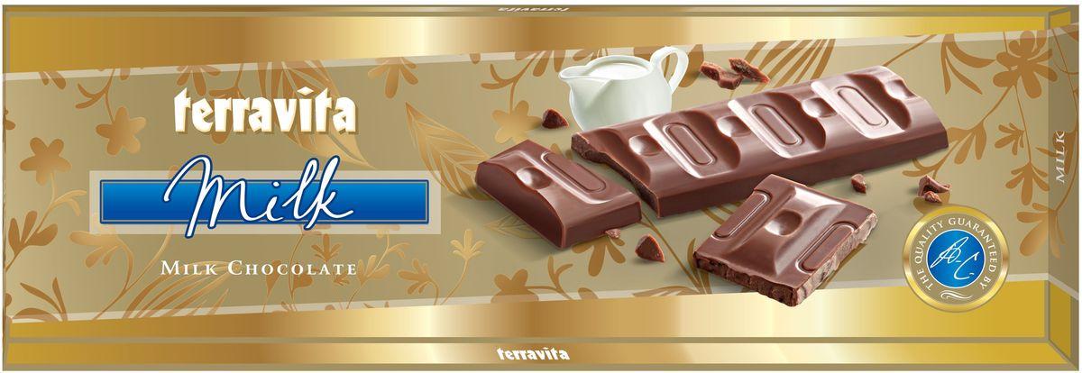 Terravita Шоколад молочный, 225 г79006021Идеальный баланс ингредиентов в молочном шоколаде Terravita делает его таким вкусным, нежным и ароматным, что полностью оправдывает название.Отличное качество шоколада подарит вам незабываемые ощущение вкуса и аромата. Только один кусочек обеспечивает массу энергии и повышает настроение. Он также утолит голод и послужит хорошим поводом для чаепития с друзьями и близкими.