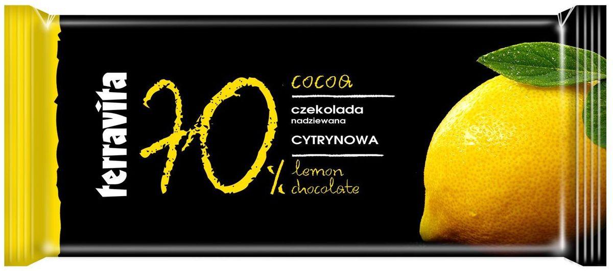 Terravita Шоколад темный с лимоном, 100 г0120710Идеальный баланс ингредиентов в темном шоколаде Terravita делает его таким вкусным и ароматным, что полностью оправдывает название. Отличное качество шоколада подарит вам незабываемые ощущение вкуса и аромата. Шоколад - исключительно вкусный способ получить заряд энергии. Только один кусочек обеспечивает массу энергии и повышает настроение. Он также утолит голод и послужит хорошим поводом для чаепития с вашими близкими.