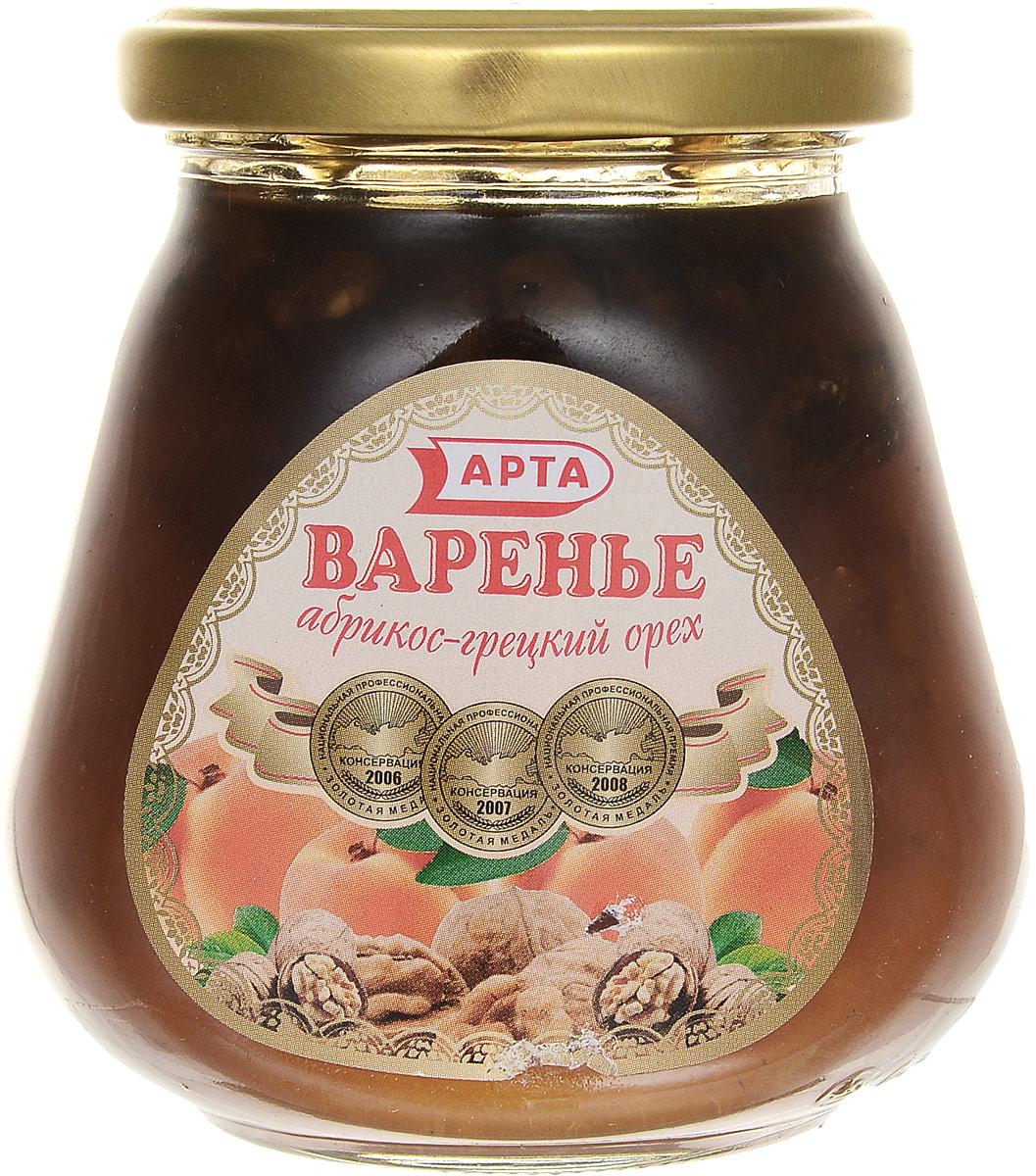 Арта варенье из абрикоса и грецкого ореха, 340 г0120710Арта - натуральное варенье из абрикоса и грецкого ореха, которое станет полезным и вкусным лакомством для всей семьи. Абрикосы показаны при желудочных заболеваниях и нарушении обмена веществ. Они мягко, но надолго возбуждают железистый аппарат желудка и нормализуют кислотность желудочного сока, что приводит в норму деятельность поджелудочной железы, а в силу этого улучшается работа печени и желчного пузыря.Абрикосы применяют при воспалении почек, они выводят из организма различные шлаки. Грецкие орехи являются продуктом питания и высокоактивным лекарственным средством. По калорийности они в 2 раза превышают пшеничный хлеб высшего сорта. Их рекомендуют для профилактики и лечения атеросклероза, при недостатке витаминов, солей кобальта и железа в организме. В орехах много клетчатки и масла, которые способны усиливать деятельность кишечника.