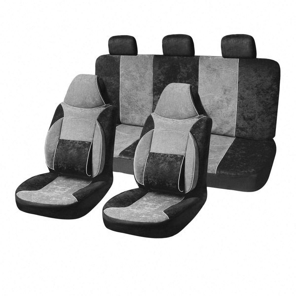 Чехлы автомобильные Skyway. S01301033CA-3505Комплект классических универсальных автомобильных чехлов Skyway S01301033 изготовлен из велюра. Чехлы защитят обивку сидений от вытирания и выцветания. Благодаря структуре ткани, обеспечивается улучшенная вентиляция кресел, что позволяет сделать более комфортными долгое пребывание за рулем во время дальней поездки.