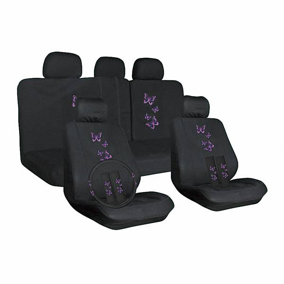 Набор автомобильных чехлов Skyway. S01301146FS-80423Комплект классических универсальных автомобильных чехлов Skyway S01301146 изготовлен из полиэстера. Чехлы защитят обивку сидений от вытирания и выцветания. Благодаря структуре ткани, обеспечивается улучшенная вентиляция кресел, что позволяет сделать более комфортными долгое пребывание за рулем во время дальней поездки.В комплекте оплетка, чехлы на ремни безопасности.