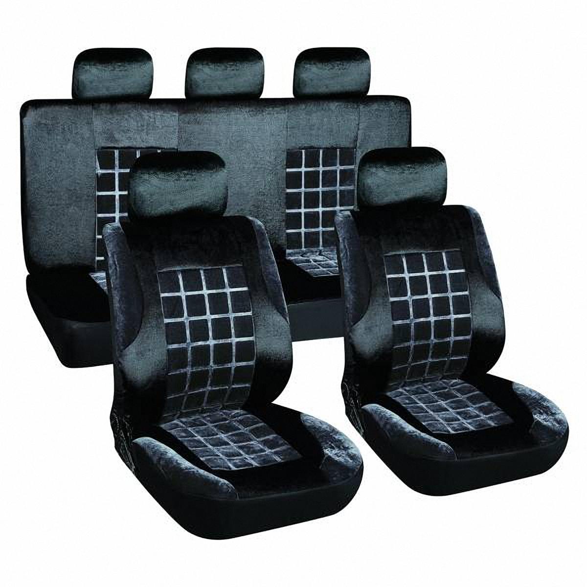 Чехлы автомобильные Skyway. S01301153V001-D1Комплект классических универсальных автомобильных чехлов Skyway S01301153 изготовлен из вельвета. Чехлы защитят обивку сидений от вытирания и выцветания. Благодаря структуре ткани, обеспечивается улучшенная вентиляция кресел, что позволяет сделать более комфортными долгое пребывание за рулем во время дальней поездки.
