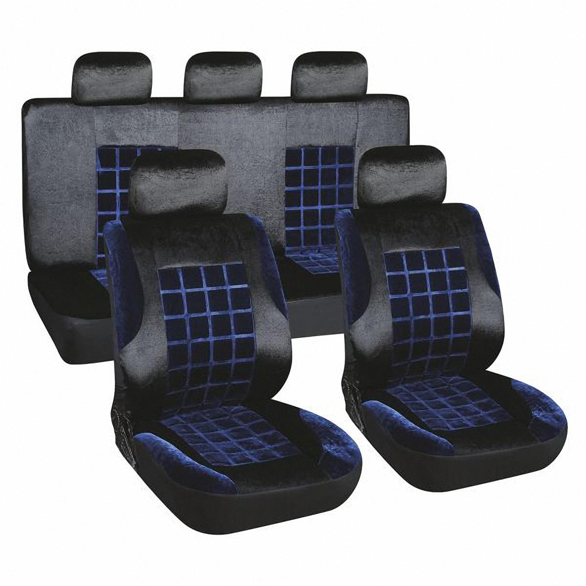 Чехлы автомобильные Skyway. S01301155V002-D2Комплект классических универсальных автомобильных чехлов Skyway S01301155 изготовлен из вельвета. Чехлы защитят обивку сидений от вытирания и выцветания. Благодаря структуре ткани, обеспечивается улучшенная вентиляция кресел, что позволяет сделать более комфортными долгое пребывание за рулем во время дальней поездки.