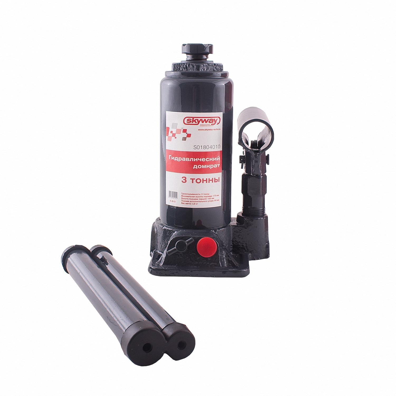 Домкрат бутылочный Skyway, гидравлический, с клапаном, 3 т домкрат гидравлический бутылочный skybear 6т  410610