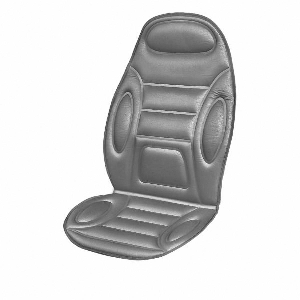 Накидка на сиденье Skyway, массажная, с подогревом. S0220101421395598Массажная накидка на сиденье Skyway с функцией подогрева имеет 2 вида массажа, продолжительный или пульсирующий, 5 режимов интенсивности. Зоны массажа: нижняя и верхняя части спины и бедра. Есть пульт управления и удобный карман для его хранения в нижней части накидки с правой стороны. Функция обогрева предназначена для создания комфортной температуры 37-40 градусов и расположена в поясничной зоне. Оснащена предохранителем, который в случае нежелательного перепада напряжения защитит изделие и бортовую сеть автомобиля. Накидка подходит для всех размеров сидений.Напряжение: 12В. Количество режимов массажа: 5. Количество скоростей: 3. Температура подогрева: 37-40°C.