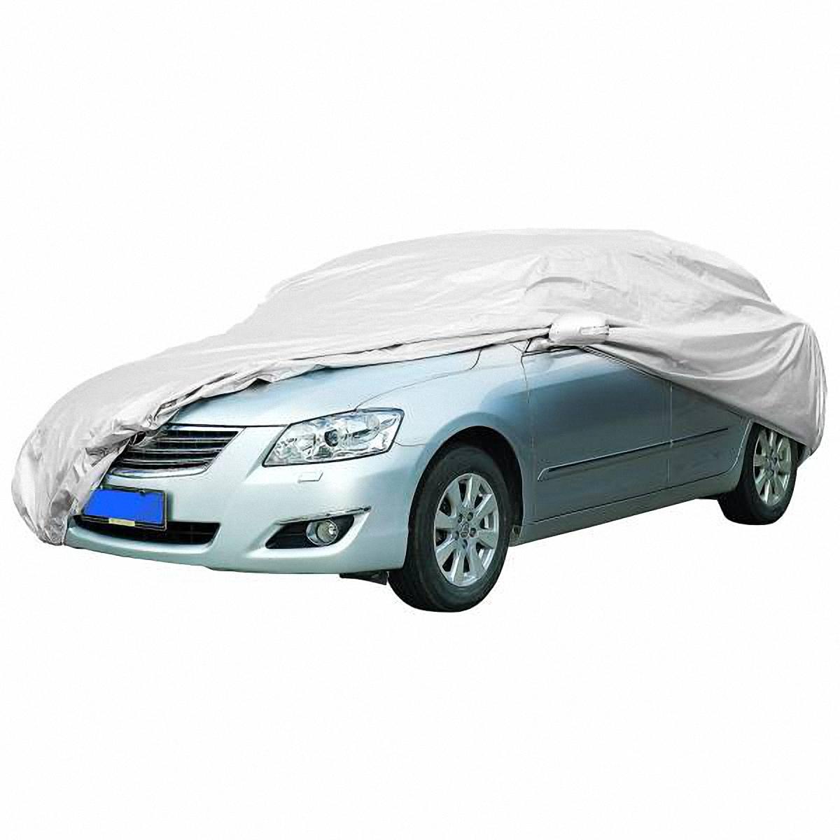 Чехол-тент автомобильный Skyway, 406 х 165 х 119 см. Размер SSC-FD421005Тент автомобильный позволит защитить кузов вашего транспортного средства от коррозии и загрязнений во время хранения или транспортировки, а вас избавит от необходимости частого мытья вашего автомобиля. Чехол-тент предохраняет лакокрасочное покрытие кузова, стекла и фары вашего автомобиля от воздействия прямых солнечных лучей и неблагоприятных погодных условий, загрязнений. Легко и быстро надевается на автомобиль, не царапая и не повреждая его.Изготовлен из высококачественного полиэстера. В передней и задней части тента вшиты резинки, стягивающие его нижний край под передним и задним бамперами. Обладает высокой влаго- и износостойкостью. Обладает светоотражающими и пылезащитными свойствами. Выдерживает как низкие, так и высокие температуры. Воздухопроницаемый материал. Состав: полиэстер. Размер: 406 х 165 х 119 см.