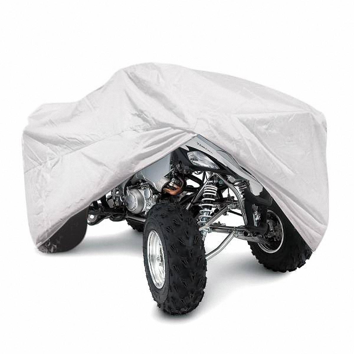 Чехол-тент на квадроцикл Skyway, 251 х 120 х 85 см. Размер XL21395599Тент на квадроцикл позволит защитить кузов вашего транспортного средства от коррозии и загрязнений во время хранения или транспортировки, а вас избавит от необходимости его частого мытья. Чехол-тент предохраняет лакокрасочное покрытие кузова, стекла и фары вашего квадроцикла от воздействия прямых солнечных лучей и неблагоприятных погодных условий, загрязнений. Легко и быстро надевается на квадроцикл, не царапая и не повреждая его.Изготовлен из высококачественного полиэстера. В передней и задней части тента вшиты резинки, стягивающие его нижний край под передним и задним бамперами. Обладает высокой влаго- и износостойкостью. Обладает светоотражающими и пылезащитными свойствами. Выдерживает как низкие, так и высокие температуры. Воздухопроницаемый материал. Состав: полиэстер. Размер: 251 х 120 х 85 см.