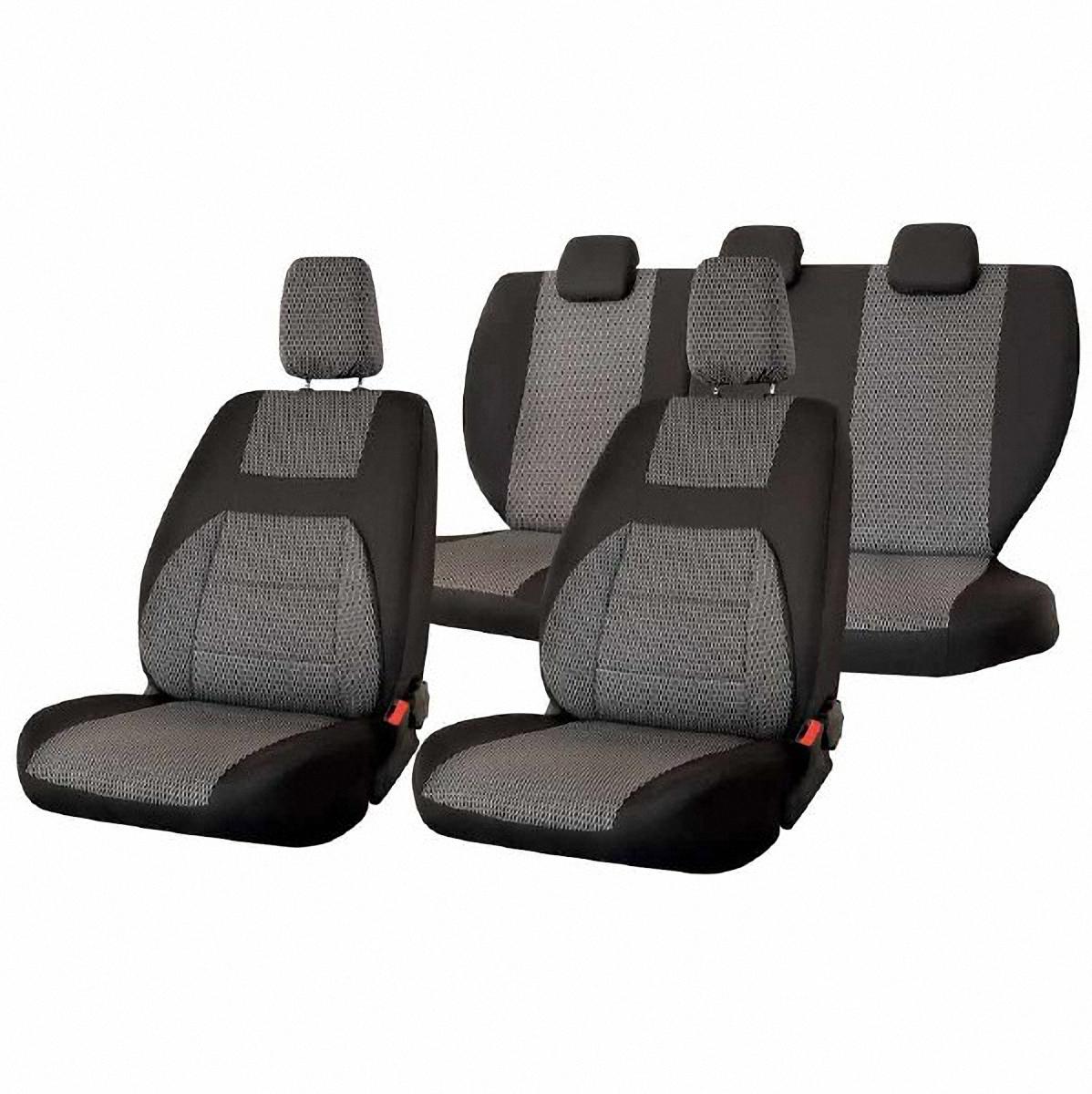 Чехлы автомобильные Skyway, для Lada Granta, цвет: темно-серыйВетерок 2ГФАвтомобильные чехлы Skyway изготовлены из качественного жаккарда. Чехлы идеально повторяют штатную форму сидений и выглядят как оригинальная обивка сидений. Разработаны индивидуально для каждой модели автомобиля. Авточехлы Skyway просты в уходе - загрязнения легко удаляются влажной тканью. Чехлы имеют раздельную схему надевания. Заднее сиденье - сплошное.В комплекте 11 предметов.