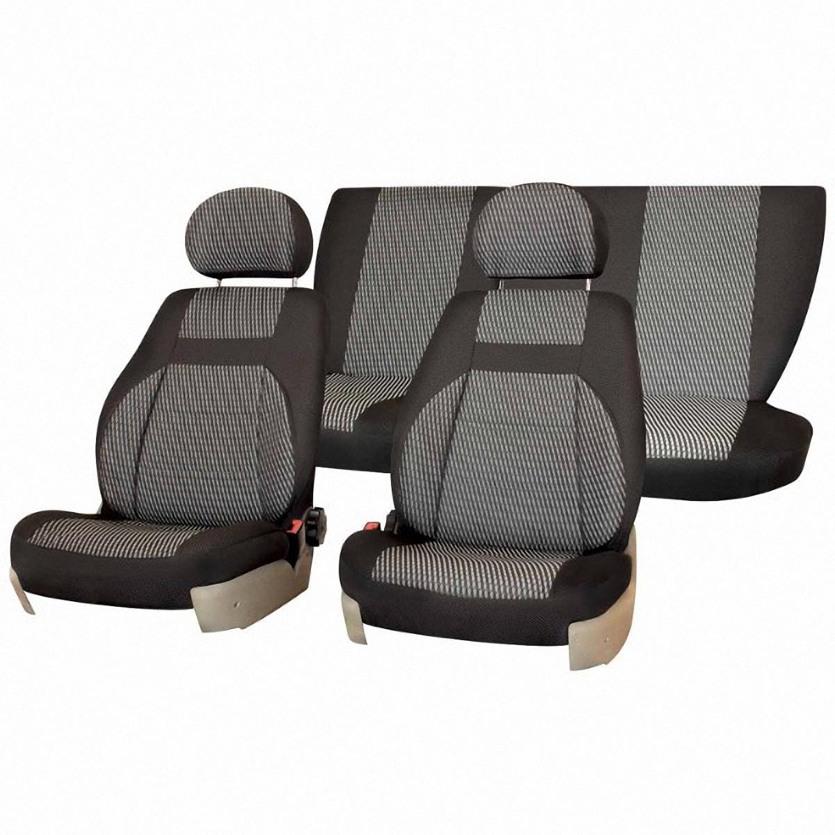 Чехлы автомобильные Skyway, для Lada Priora, седан, цвет: светло-серый19200Автомобильные чехлы Skyway изготовлены из качественного жаккарда. Чехлы идеально повторяют штатную форму сидений и выглядят как оригинальная обивка сидений. Разработаны индивидуально для каждой модели автомобиля. Авточехлы Skyway просты в уходе - загрязнения легко удаляются влажной тканью. Чехлы имеют раздельную схему надевания. В комплекте 12 предметов.