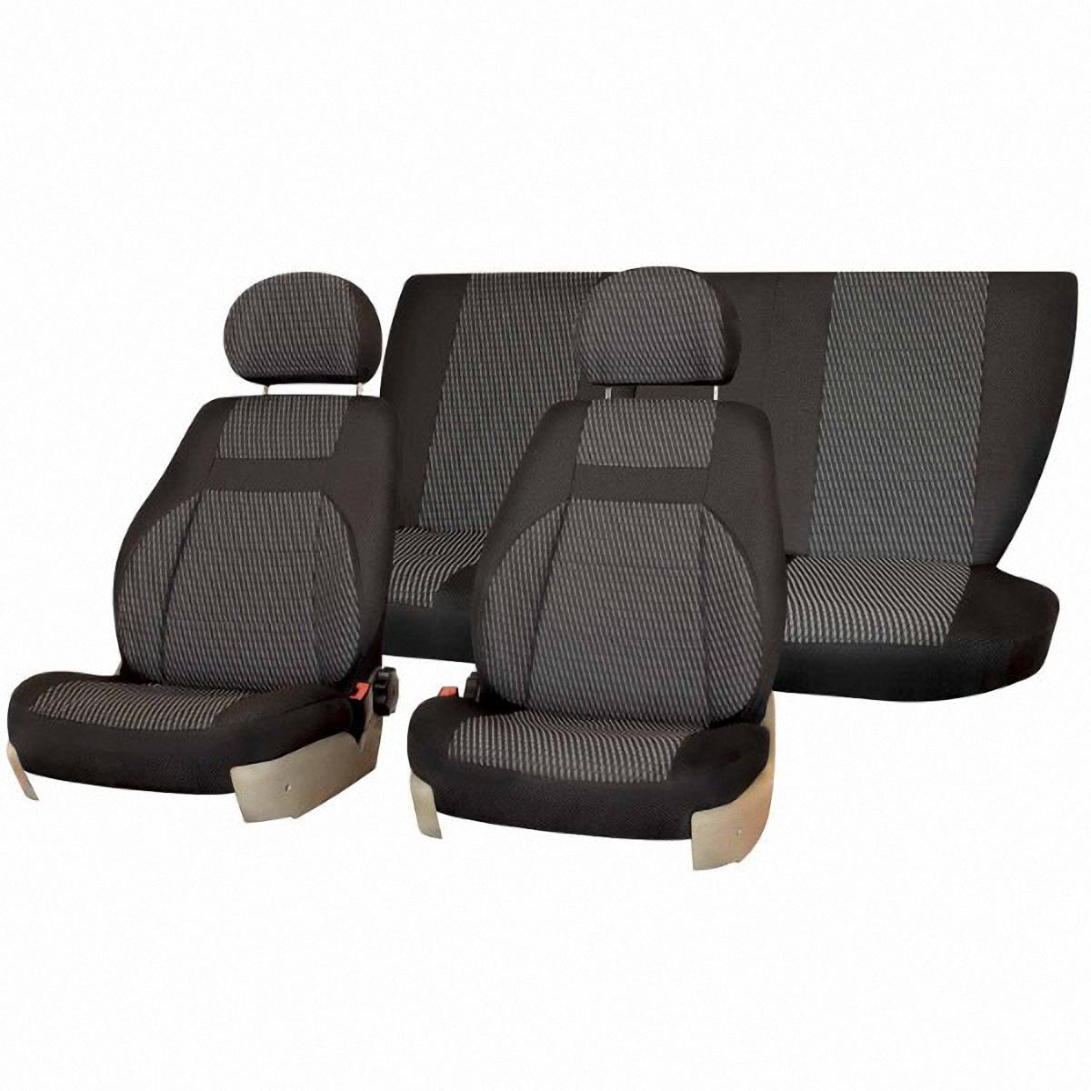 Чехлы автомобильные Skyway, для Lada Priora, седан, цвет: темно-серыйV005-D2Автомобильные чехлы Skyway изготовлены из качественного жаккарда. Чехлы идеально повторяют штатную форму сидений и выглядят как оригинальная обивка сидений. Разработаны индивидуально для каждой модели автомобиля. Авточехлы Skyway просты в уходе - загрязнения легко удаляются влажной тканью. Чехлы имеют раздельную схему надевания. В комплекте 12 предметов.