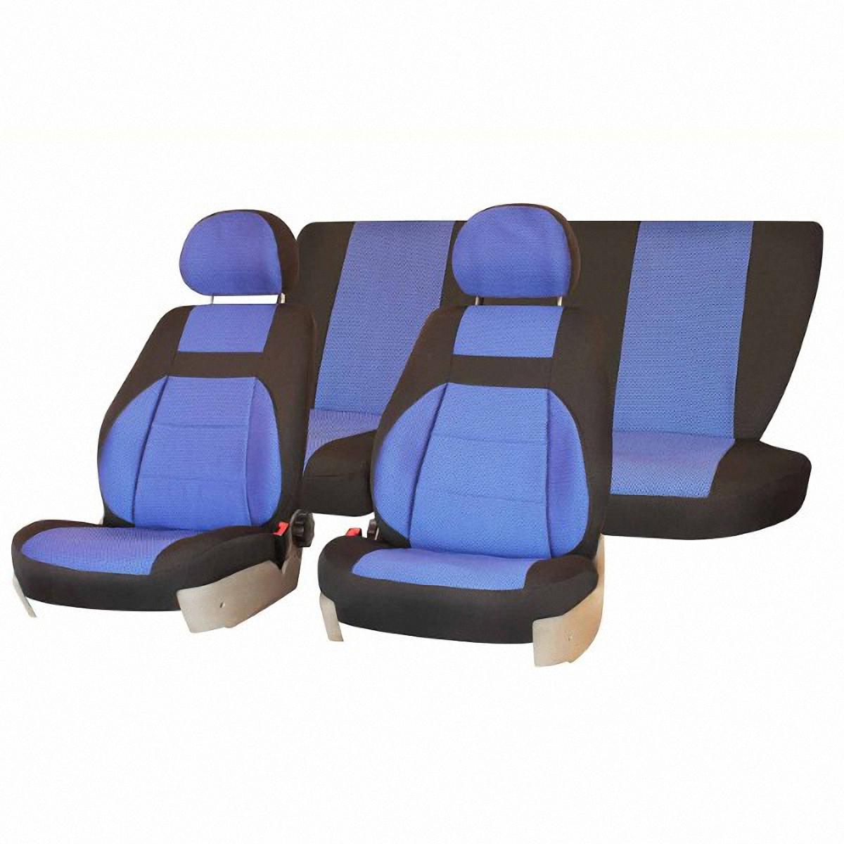 Чехлы автомобильные Skyway, для ВАЗ-2107, цвет: синий, черныйст18фАвтомобильные чехлы Skyway изготовлены из качественного жаккарда. Чехлы идеально повторяют штатную форму сидений и выглядят как оригинальная обивка сидений. Разработаны индивидуально для каждой модели автомобиля. Авточехлы Skyway просты в уходе - загрязнения легко удаляются влажной тканью. Чехлы имеют раздельную схему надевания. В комплекте 6 предметов.