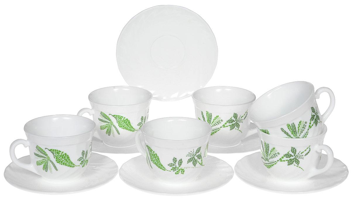 Набор чайный Luminarc Romancia Anis, 12 предметов. H2425VT-1520(SR)Чайный набор Luminarc Romancia Anis состоит из шести чашек и шести блюдец. Предметы набора изготовлены из высококачественного стекла и украшены оригинальным рисунком. Чайный набор изысканного утонченного дизайна украсит интерьер кухни. Прекрасно подойдет как для торжественных случаев, так и для ежедневного использования.Объем чашки: 220 мл. Диаметр чашки по верхнему краю: 8,5 см. Высота чашки: 6,5 см.Диаметр блюдца: 14 см.Высота блюдца: 1,5 см.