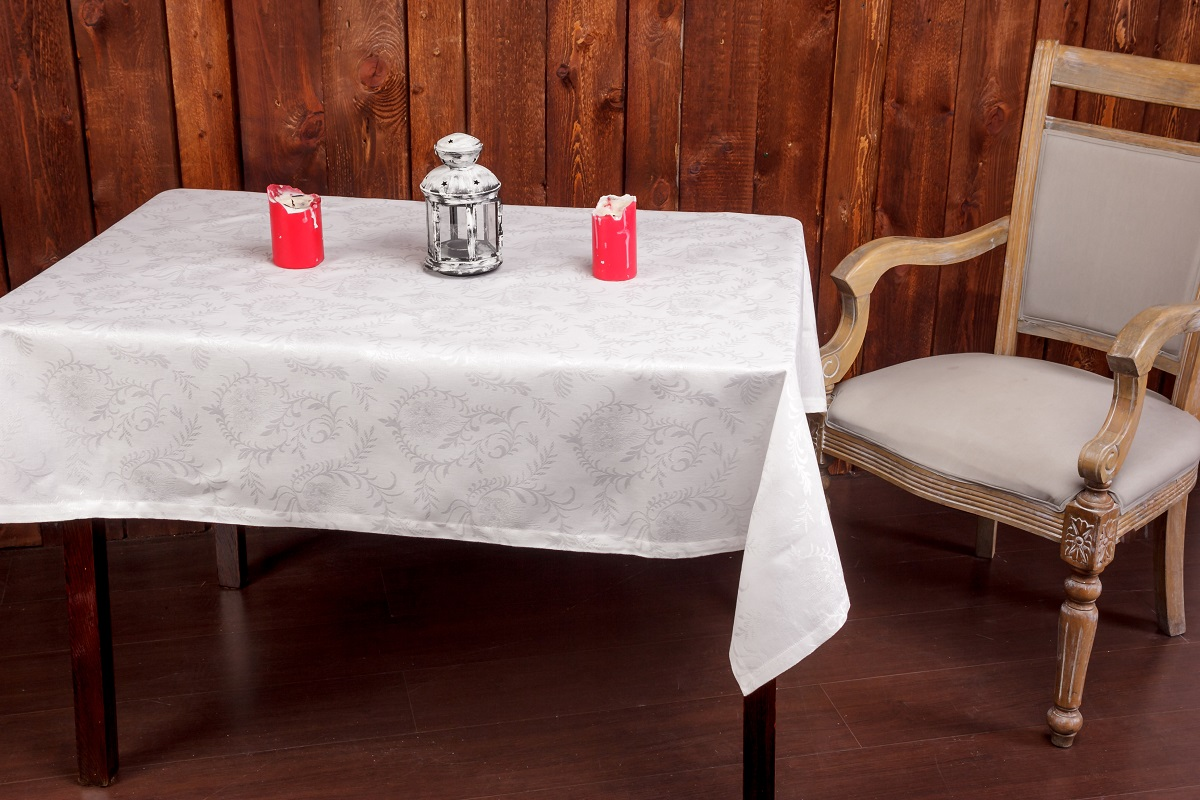 Скатерть Гаврилов-Ямский Лен, 140x250 см. 1со5878-1VT-1520(SR)Нарядная белая скатерть из вискозы с хлопком. Актуальная классика! Придаст праздничный вид любому столу! Поскольку ткань скатерти не содержит искуственных волокон - её можно отбеливать и стирать при высокой температуре.