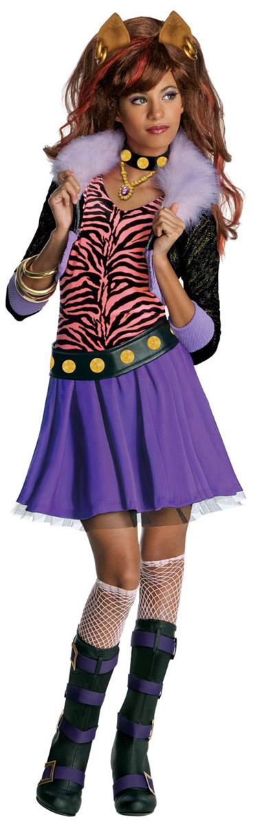 Rubies Карнавальный костюм для девочки Клодин Вульф цвет сиреневый черный персиковый. Н89162. Размер 128, 7-8 лет21610GTC2501Карнавальный костюм для девочки Rubies Клодин Вульф позволит вашему ребенку быть самым интересным и ярким персонажем на утреннике, бале-маскараде или карнавале. Клодин Вульф - ученица Школы Монстров из популярного мультсериала Monster High, она уверенная, энергичная и яркая модница, умеет выделиться из толпы. Детализированный костюм состоит из юбочки, жакета с топом, ремня и украшения на шею, выполненных из полиэстера. Короткий жакет из блестящей ткани дополнен вшитым топом. Воротник декорирован искусственным мехом. Топ свободного кроя украшает двойная оборка на груди. На юбке предусмотрен широкий эластичный пояс, благодаря которому модель не сдавливает животик и не сползает. От линии талии заложены мелкие складочки, придающие изделию пышность. Низ юбки дополнен слоем из микросетки. Ремень и украшение на шею застегиваются на липучки, декорированы принтом с изображением блестящих клепок.В таком костюме веселое настроение и масса положительных эмоций будут обеспечены!Стирка запрещена, не отбеливать, не гладить, химчистка запрещена, не разрешено сушить и отжимать в стиральной машине.