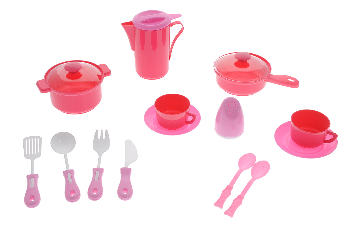 ABtoys Игрушечный кухонный набор цвет темно-розовый 14 предметов abtoys игрушечный музыкальный руль цвет черный желтый красный