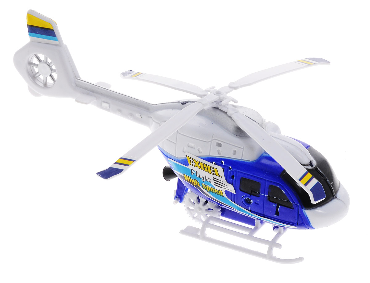 Junfa Toys Вертолет с пусковым устройством цвет белый синий junfa toys автовоз с экскаватором и самосвалом цвет синий
