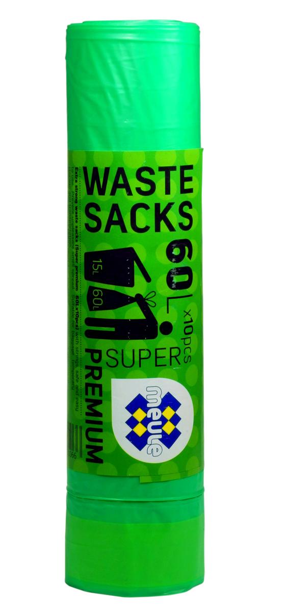 Мешки для мусора Meule Super Premium, с завязками, цвет: зеленый, 60 л, 10 штTD 0365Мешки для мусора Meule Super Premium выполнены из полиэтилена. Мешки способны выдерживать большие объемы мусора - они прочные и крепкие. Благодаря ручкам удобны в переноске, а в завязанном виде помогут предотвратить распространение неприятного запаха.Мешки можно использовать для временного хранения вещей.